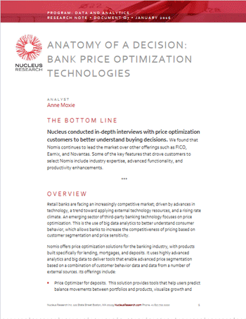 Anatomy of a Decision: Bank Price Optimization Technologies Cover